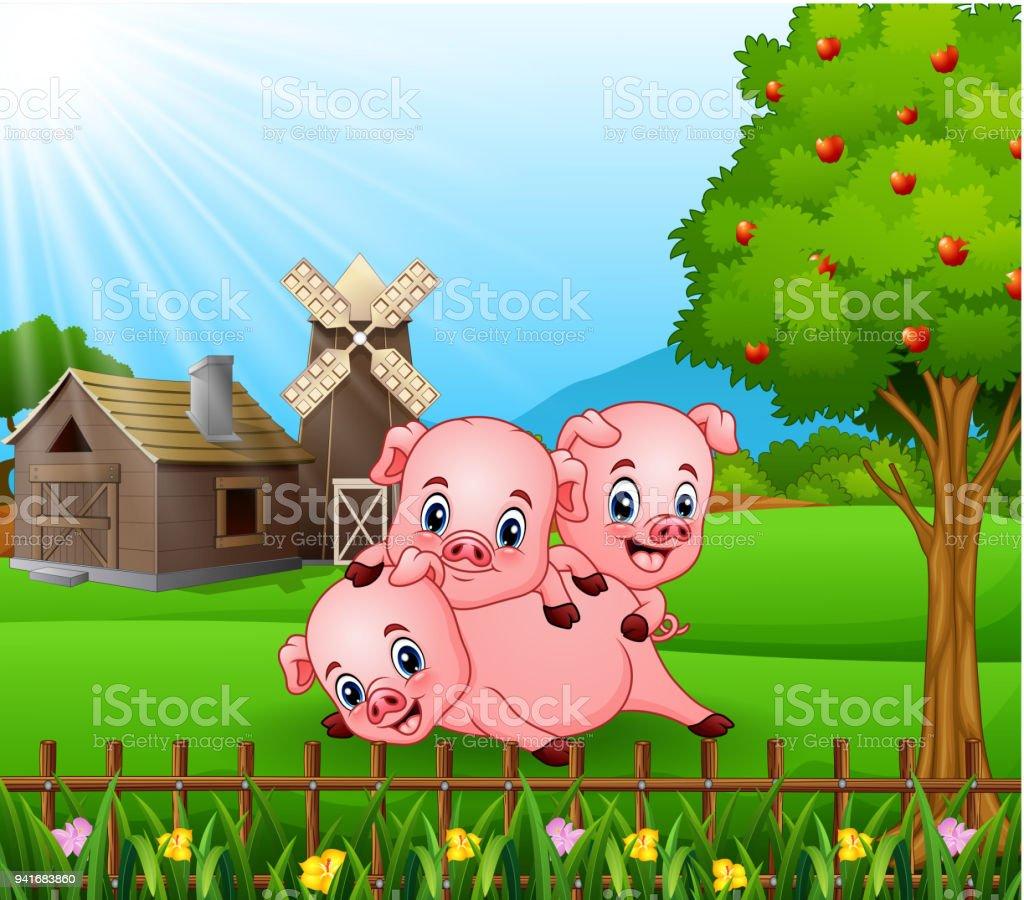 Vetores De Desenhos Animados Três Porquinhos Tocando Ao