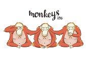 cartoon Three monkeys - see, hear, speak no evil