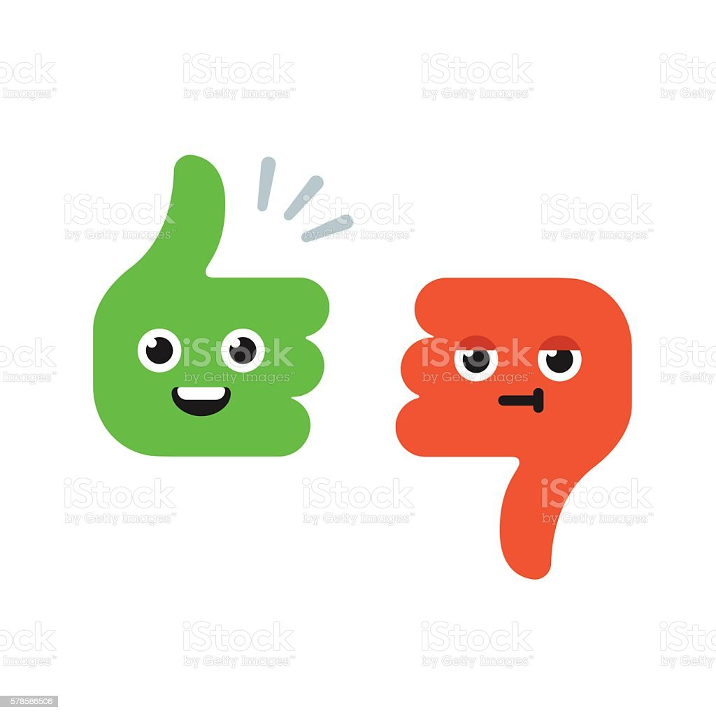 Cartoon Thumbs Up and Thumbs Down royalty-free cartoon thumbs up and thumbs down stock illustration - download image now