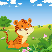 Cartoon Tiger and Butterfly in the Wild