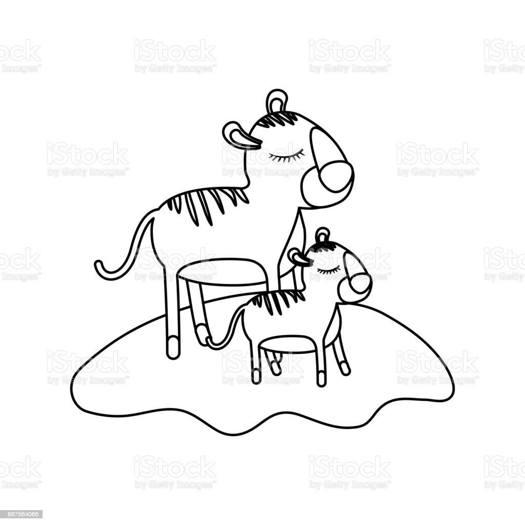 Ilustración De Dibujos Animados Tigre Mamá Y Cub Sobre Hierba En