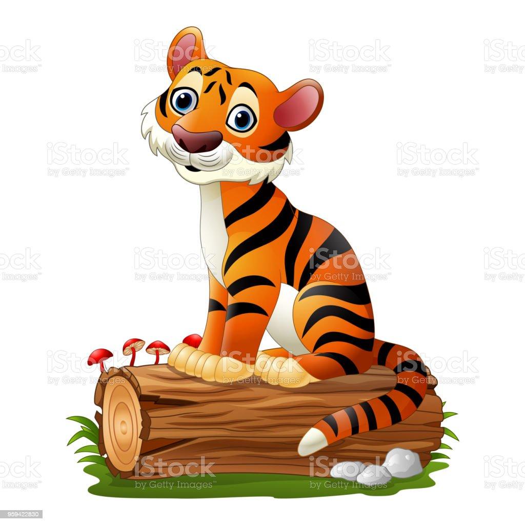 Cartoon tiger sitting on tree log vector art illustration
