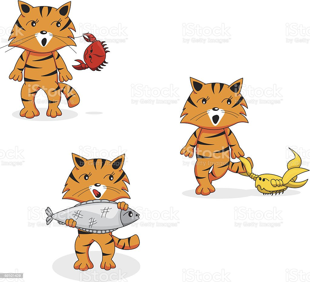 Cartoon tiger's zodiac: set of water signs royalty-free cartoon tigers zodiac set of water signs stock vector art & more images of astrology sign