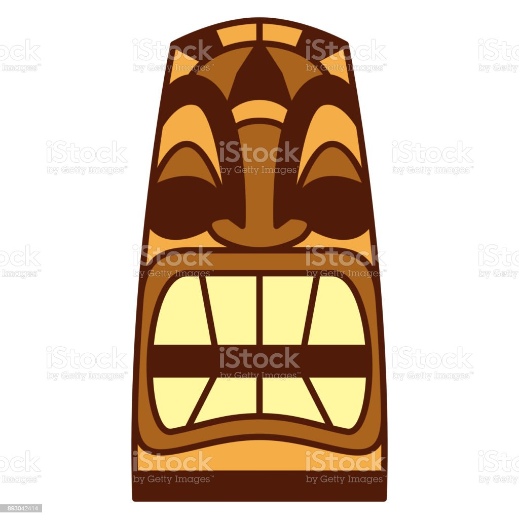 cartoon tiki idol isolated on white background stock vector art rh istockphoto com tiki vector image vector tiki mask