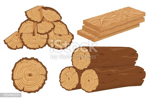 Cartoon timber. Wood log and trunk, stump and plank. Logs and boards for the forest industry set cartoon vector illustration