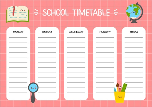 Cartoon timetable template for kids with cute school supplies.