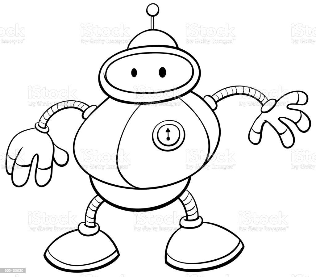 çizgi Film Teneke Robot Karakter Boyama Kitabı Stok Vektör Sanatı