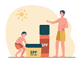 Cartoon tiny adult and kid characters with giant sunscreen. Flat vector illustration. Tanned father and son demonstrating sun blocking cream with spf under boiling sun. Summer, skin protection concept