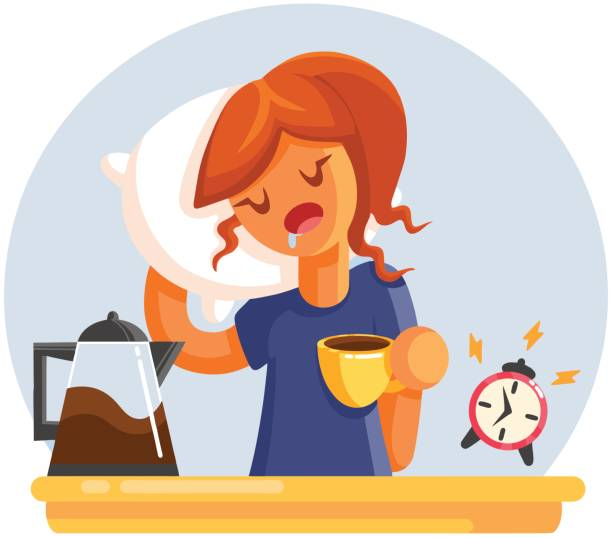 Cartoon Tired sleepy yawning woman with cup of coffee. Flat style illustration Cartoon Tired sleepy yawning woman with cup of coffee. Flat style vector illustration tired woman stock illustrations