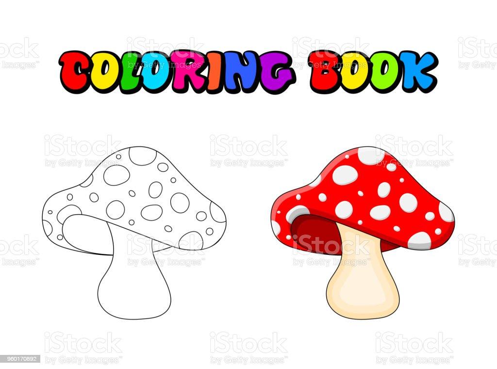 Ilustración de Seta De Dibujos Animados Para Colorear Libro Aislado ...