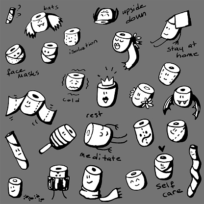 Cartoon Toilet Paper Roll Characters Doodle