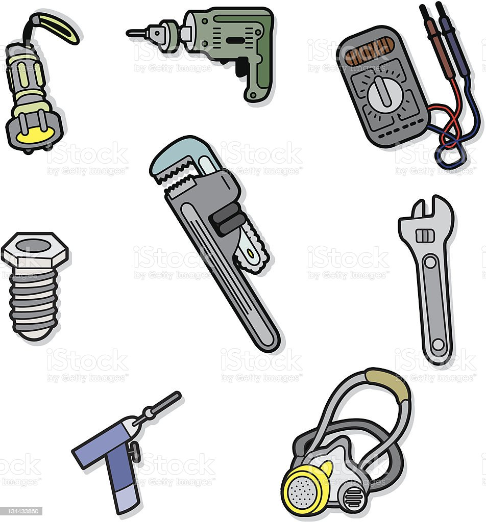 cartoon tools icons stock vector art more images of adjustable wrench 134433860 istock. Black Bedroom Furniture Sets. Home Design Ideas
