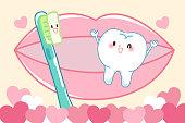 cartoon tooth and brush