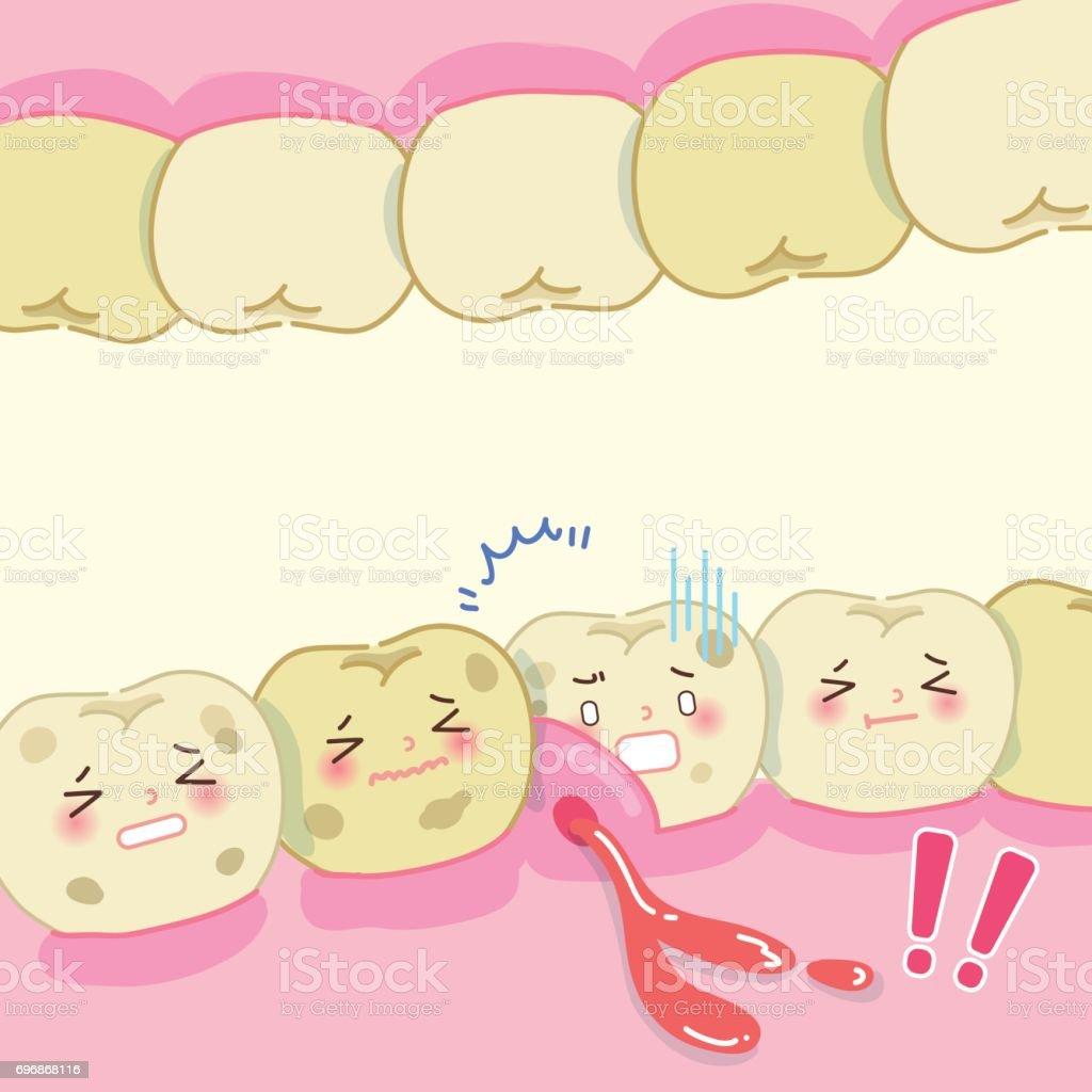 cartoon tooth decay problem vector art illustration