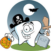 Cartoon tooth dressed as a pirate standing in a graveyard.