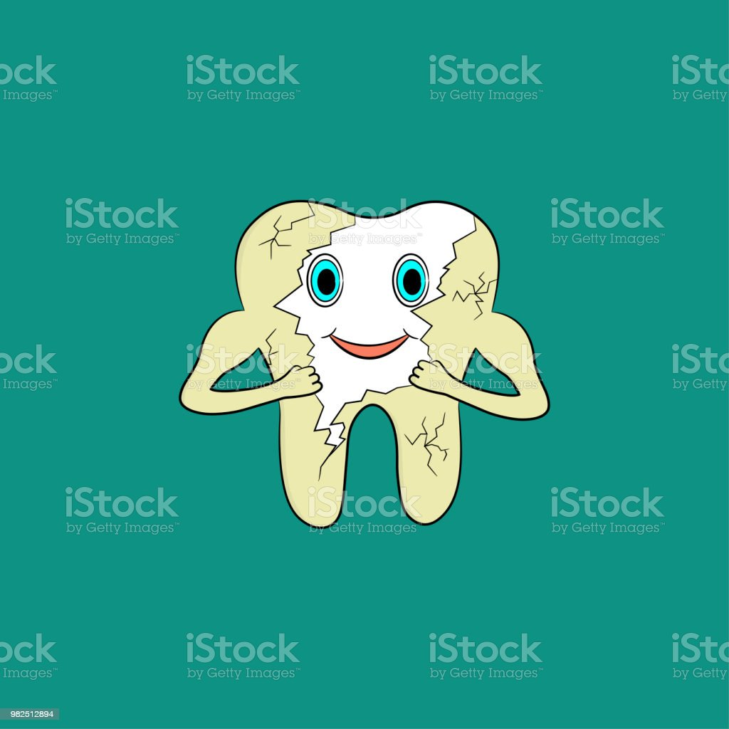 Cartoon tooth gets rid of yellow plaque on enamel vector art illustration