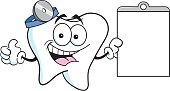 Cartoon tooth holding a chart