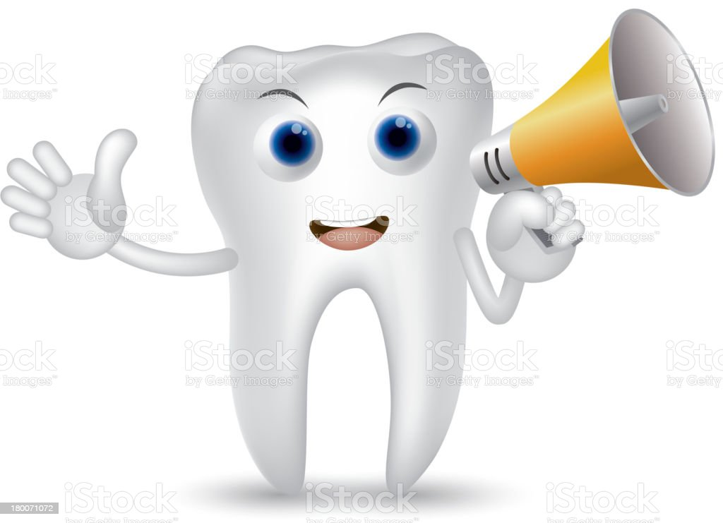 Cartoon tooth holding a megaphone royalty-free cartoon tooth holding a megaphone stock vector art & more images of brass instrument