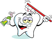 Cartoon tooth holding toothpaste and a toothbrush.