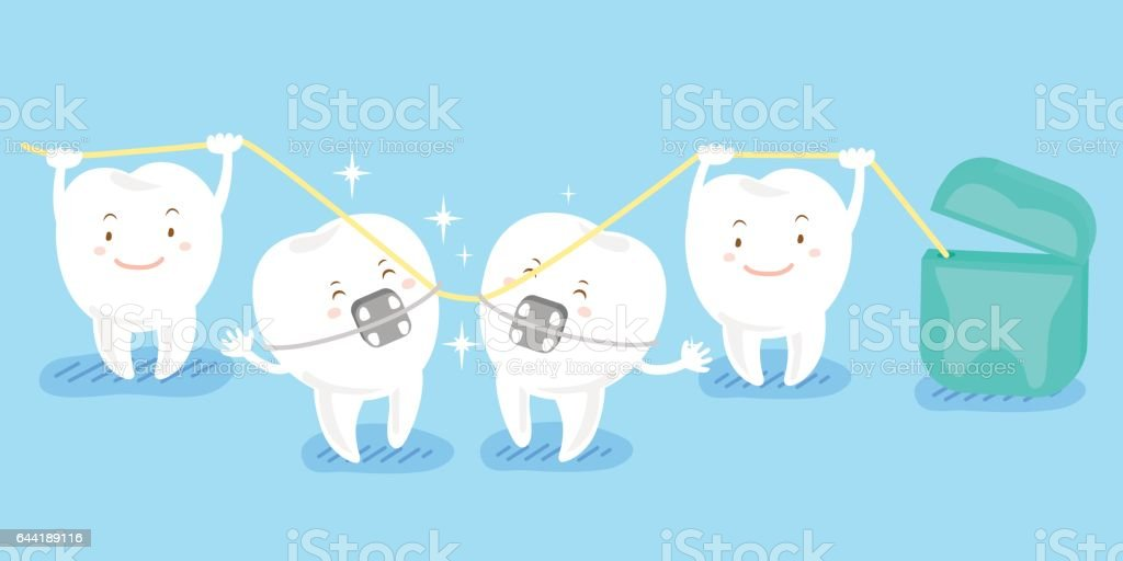 cartoon tooth playing with floss vector art illustration