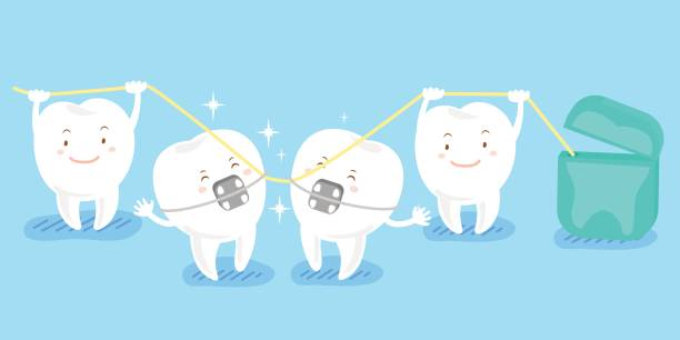illustrations, cliparts, dessins animés et icônes de dent de cartoon jouant avec soie - orthodontiste