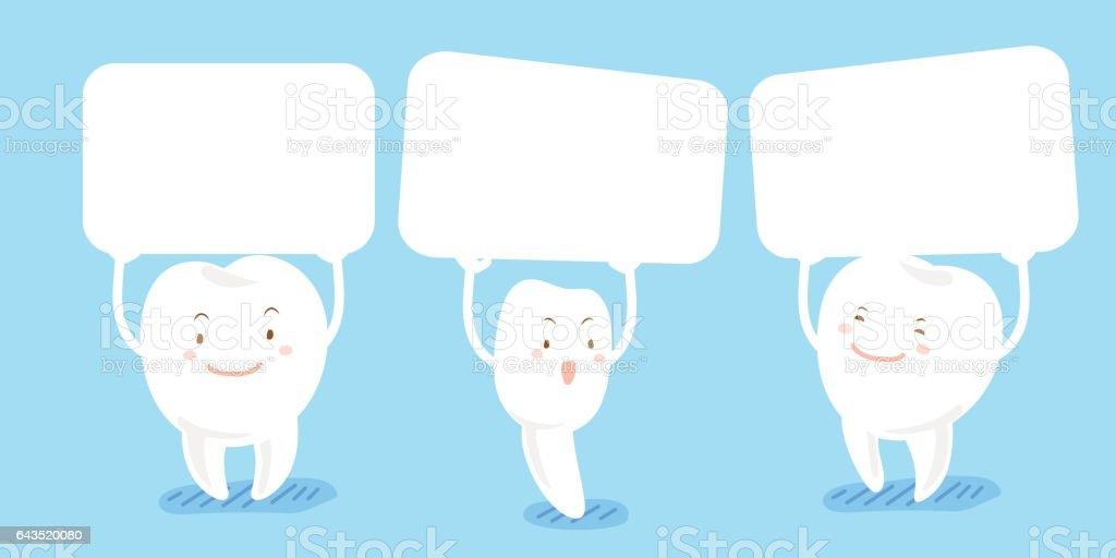 cartoon tooth take billboard vector art illustration