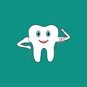 Cartoon tooth uses dental floss. Vector illustration