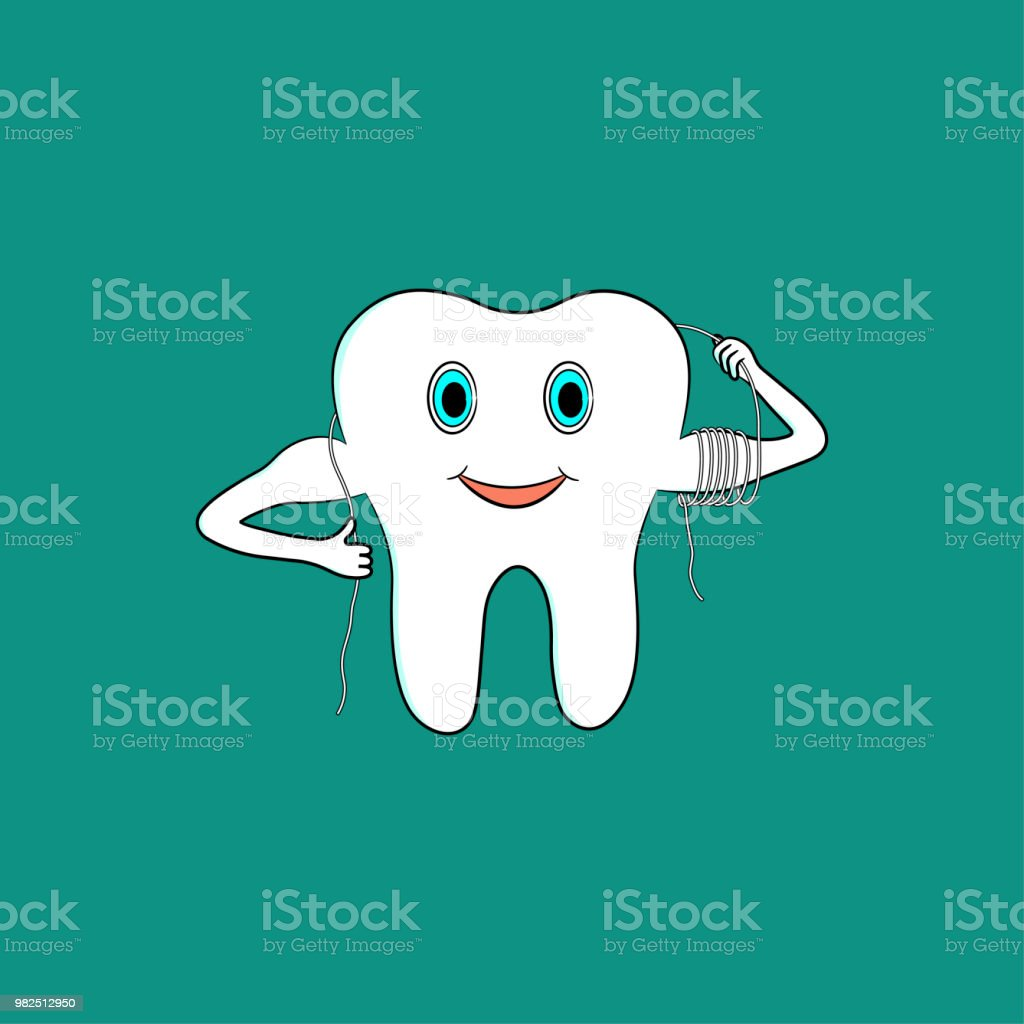 Cartoon tooth uses dental floss vector art illustration