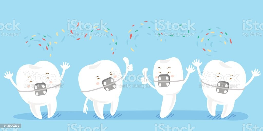 cartoon tooth wear brace vector art illustration