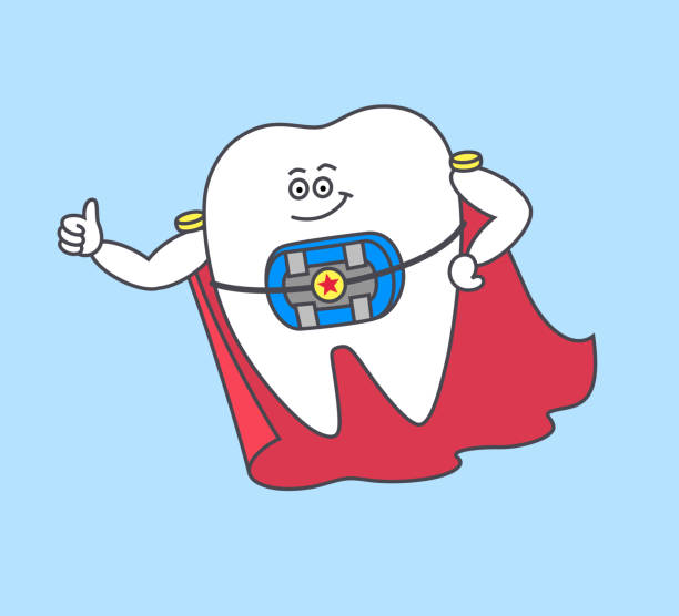 cartoon tooth with braces and blue rubber bands wearing a red cloak. - orthodontist stock illustrations, clip art, cartoons, & icons