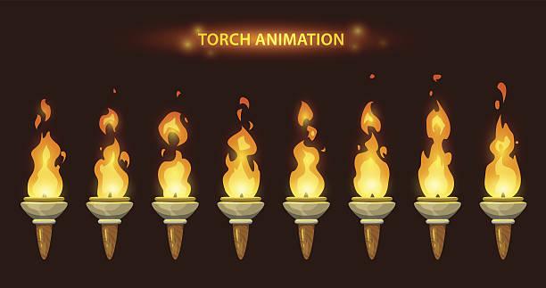 cartoon torch animation. - wielokrotny obraz stock illustrations