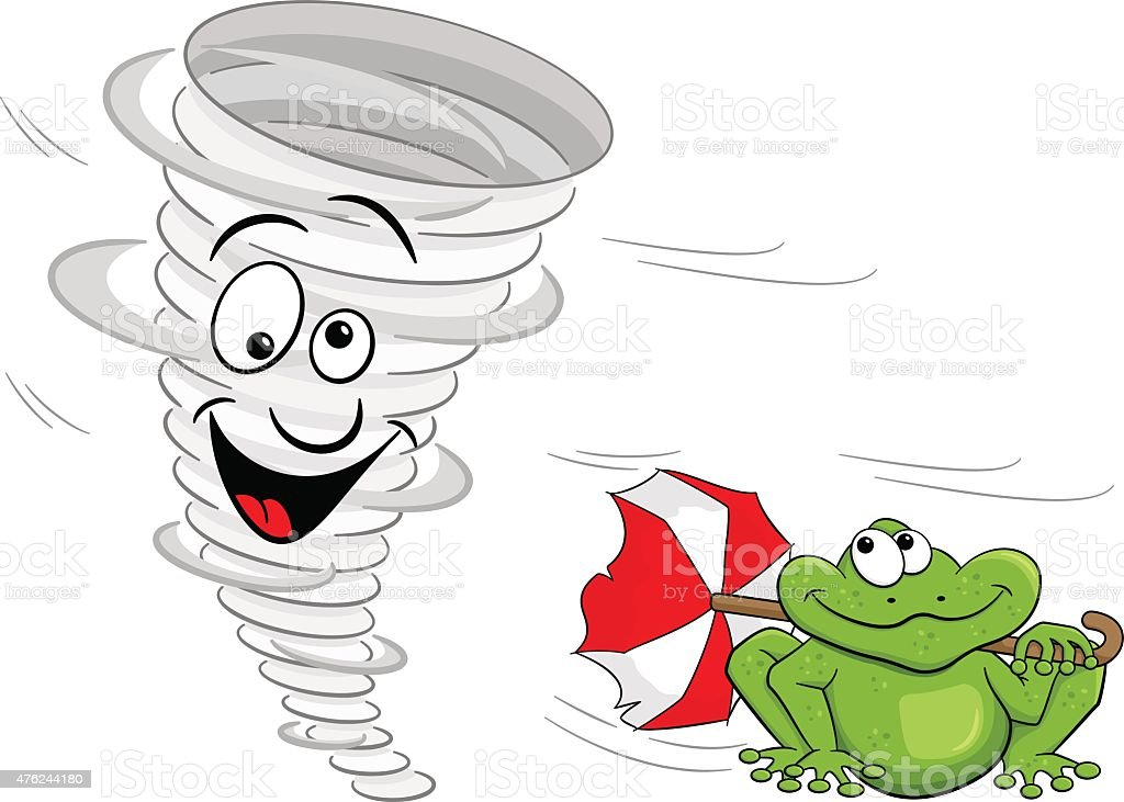 Cartoon tornado with frog stock vector art more images