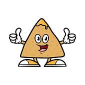 Cartoon tortilla chip character giving thumbs up.