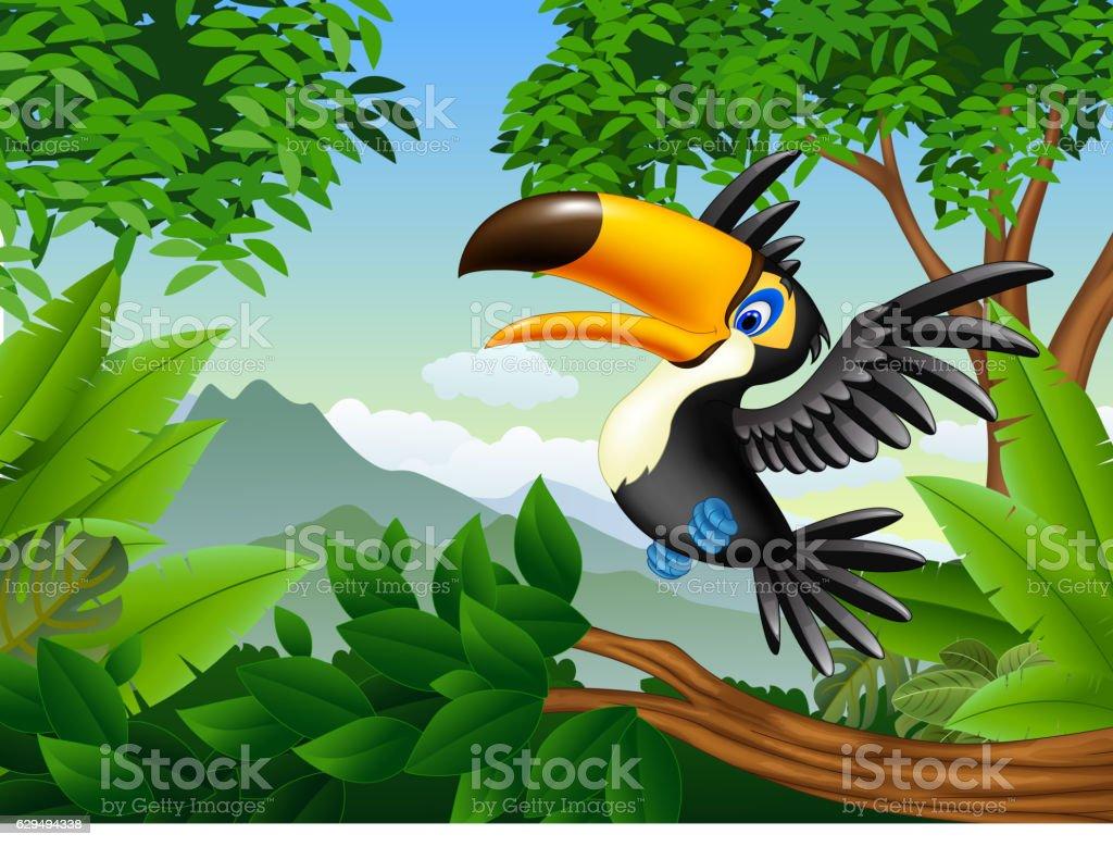 Cartoon toucan in the jungle vector art illustration