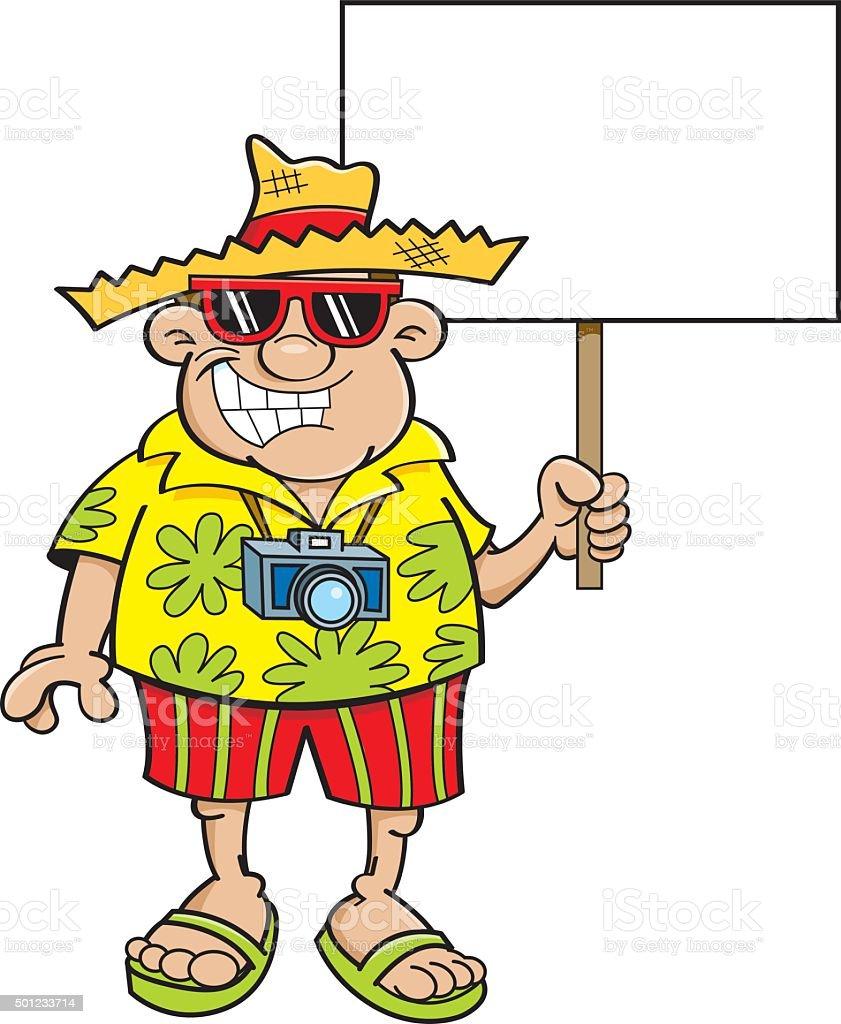 Cartoon tourist holding a sign. vector art illustration