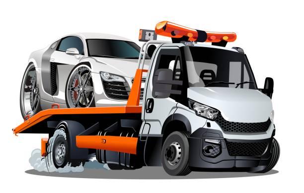 illustrazioni stock, clip art, cartoni animati e icone di tendenza di cartoon tow truck isolated on white background - transport truck tyres