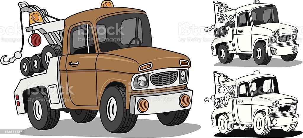 Cartoon Tow Truck vector art illustration