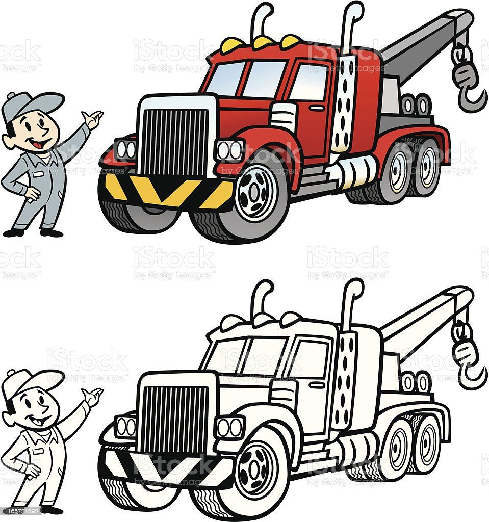 cartoon tow truck stock vector art more images of cartoon rh istockphoto com tow truck vector art free tow truck vector illustration