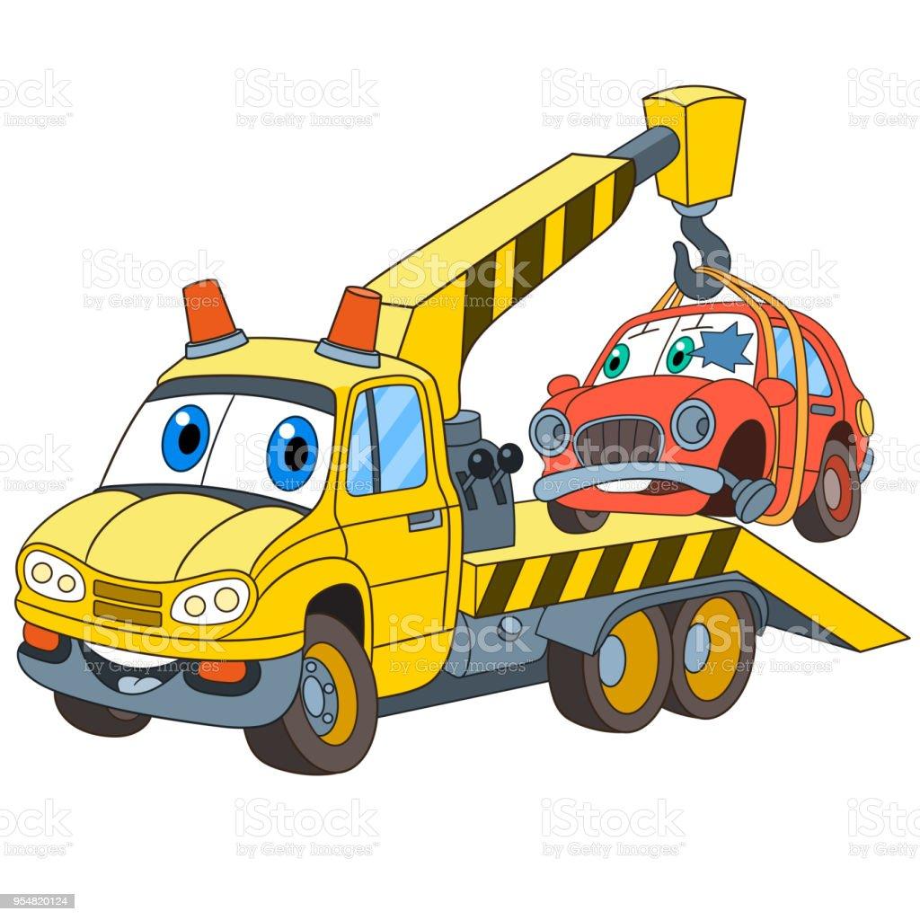 cartoon tow truck with a broken car stock vector art cartoon tow truck vector tow truck vector clipart