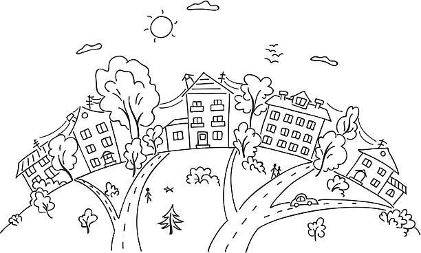漫画の町にある丘 - 都市 モノクロ点のイラスト素材/クリップアート素材/マンガ素材/アイコン素材