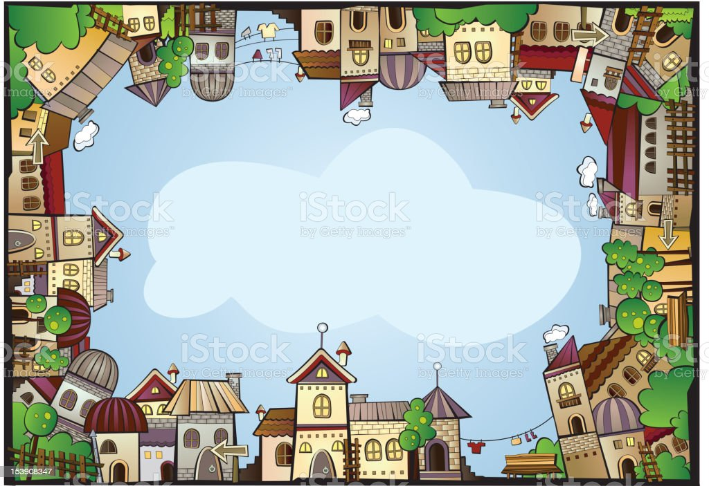 Cartoon Town Scene Frame Stock Vector Art & More Images of Apartment ...