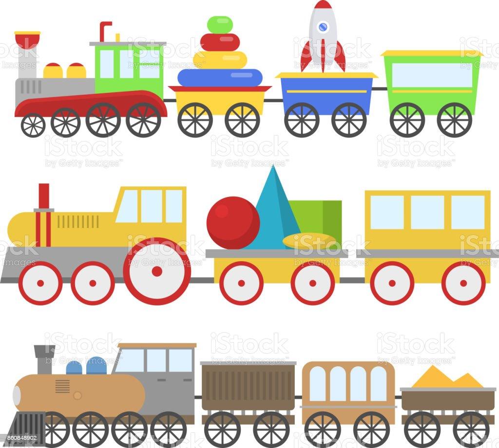 desenho animado brinquedo trem vector da estrada de ferro e jogo de