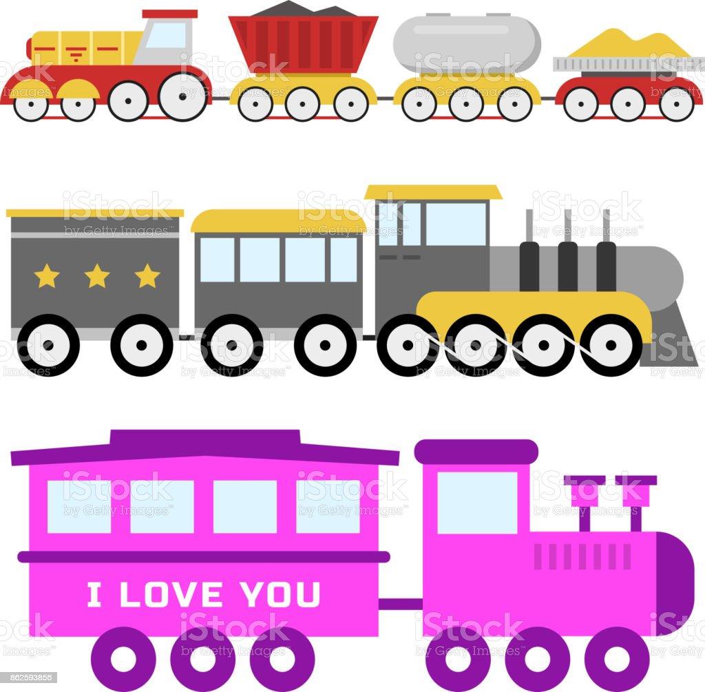 Ilustracion De Dibujos Animados Juguete Tren Vector Ferrocarril Y