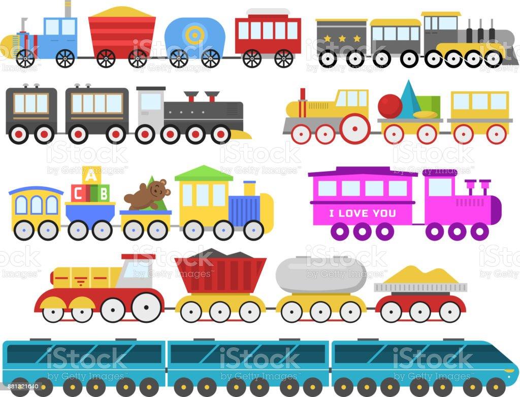 ilustração de desenho animado brinquedo trem vector da estrada de