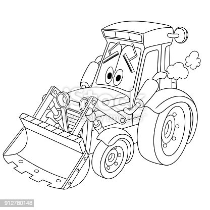 Cartoon Tractor Bulldozer Coloring Page Stock Vector Art
