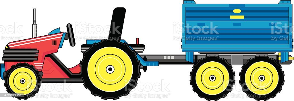 Cartoon Tractor Pulling Trailer royalty-free stock vector art