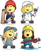 A set of 4 cute cartoon female construction workers and trades persons including painter & decorator, joiner, plumber and electrician.  Download includes EPS file and hi-res jpeg.