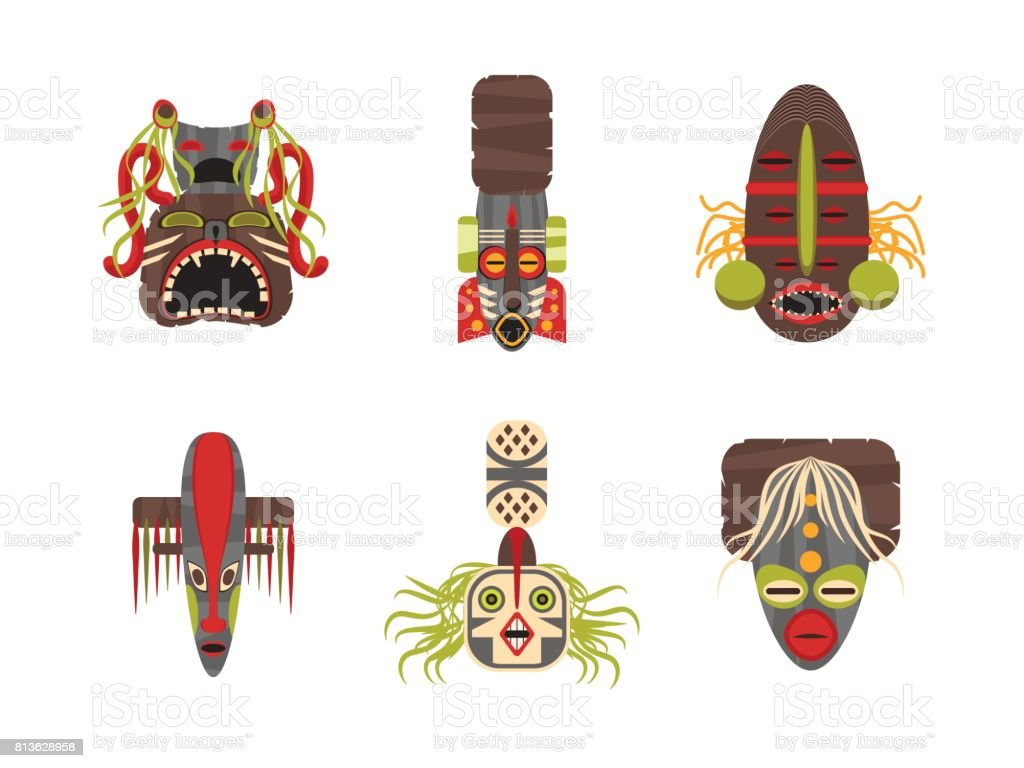Cartoon Traditional Religious Totem Color Icons Set. Vector vector art illustration