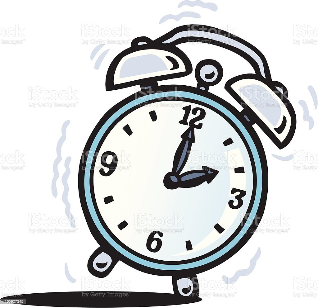 A cartoon traditional style alarm clock going off royalty-free stock vector art