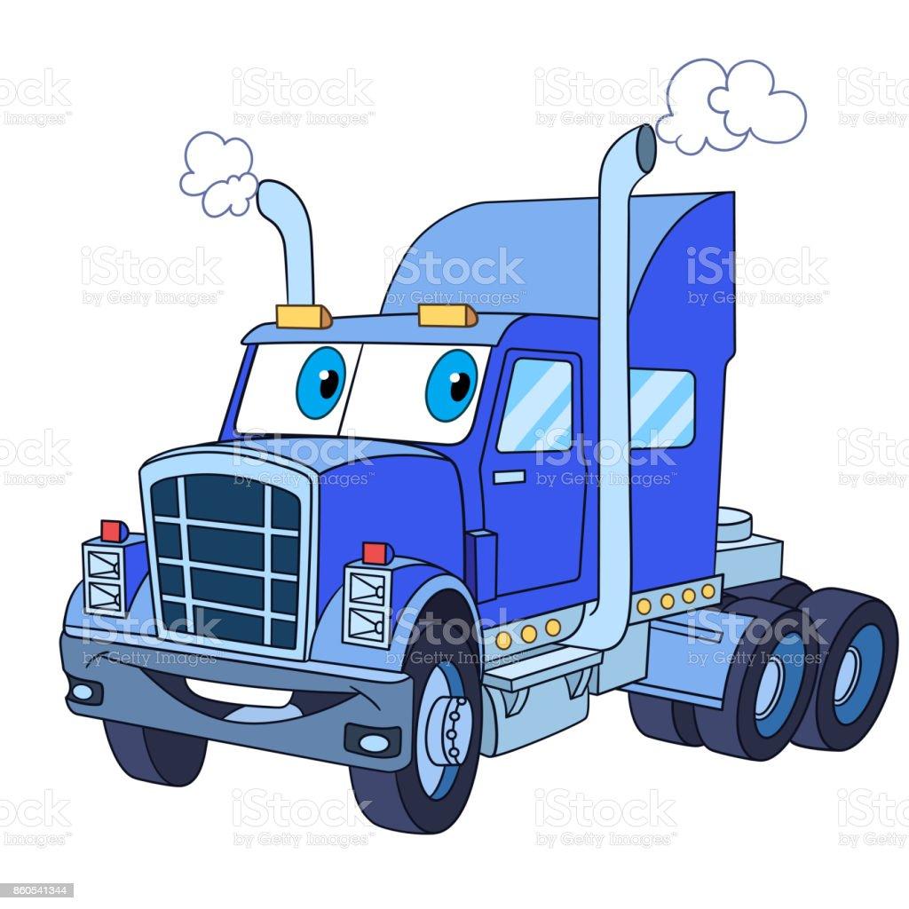 Ilustración de Camiones Semi Pesados O Remolque De Dibujos Animados ...